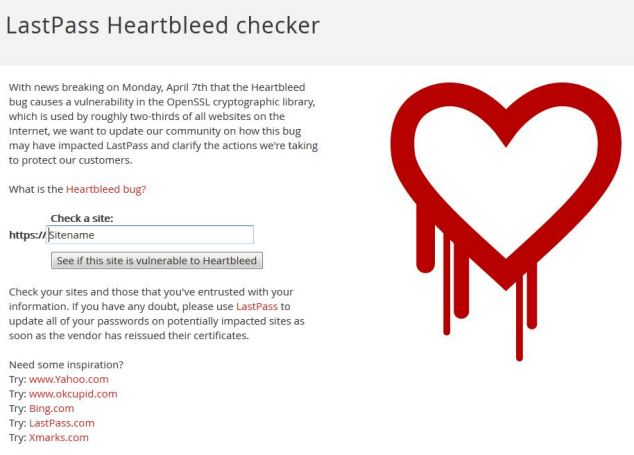 LastPass Heartbleed Checker warns if a website may be at risk. It also reveals websites that aren't affected