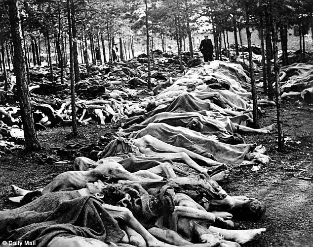 Horrifying: Some of the dead were piled up in rows in the forest on the outskirts of the camp