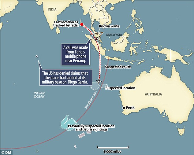 raphic showing Malaysia Airlines' route as it took off and its final contact with air traffic control. It is believed a call was made from Fariq's phone near the island of Penang. Today the U.S also denied reports the plane landed in Diego Garcia in the Indian Ocean