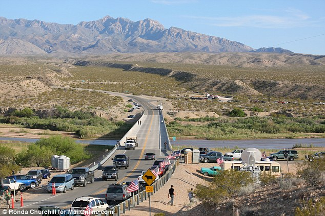 Fanatical: The edge of a Cliven Bundy supporter camp is shown near the Virgin River Saturday, April 12, 2014, near Bunkerville, Nevada
