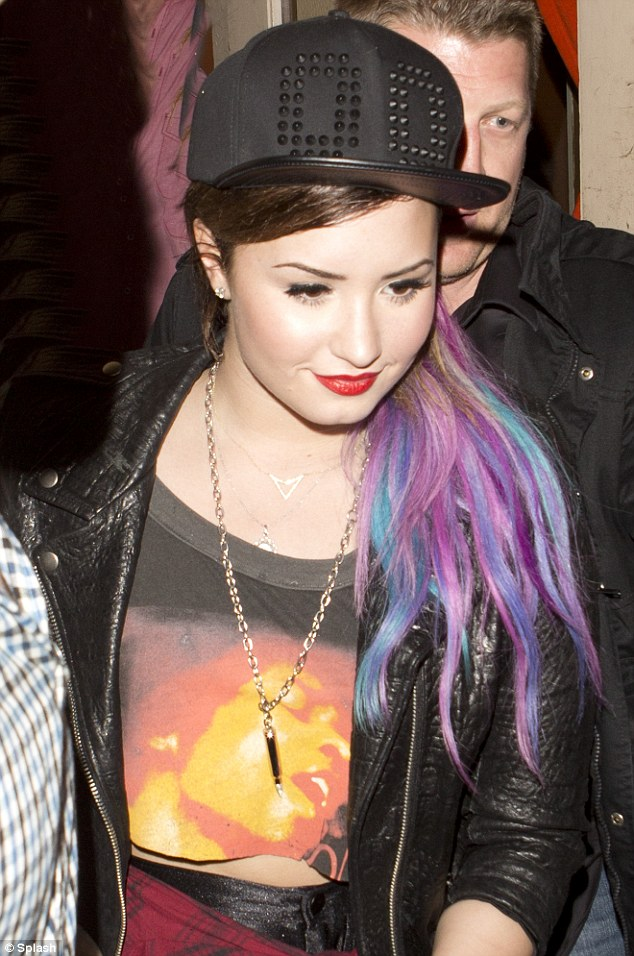 Demi Lovato Steps Out With Multi Coloured Hair Extensions