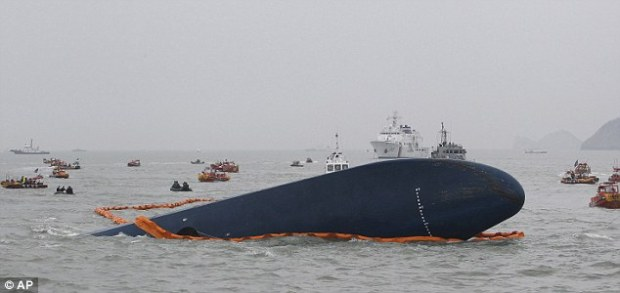 Operation: Dozens of vessels, including fishing boats, are into the second day of the hunt for the missing passengers. More than 470 people were on board the Sewol when it sank