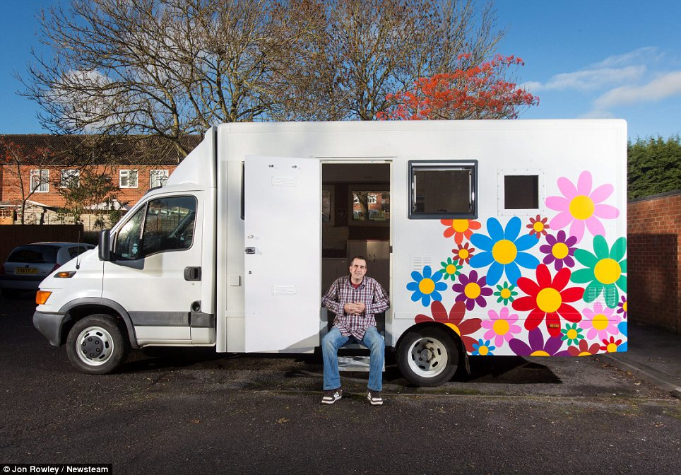 sofa beds for motorhomes nelson modern gray bed father has turned jail van that smelt of blood and old ...