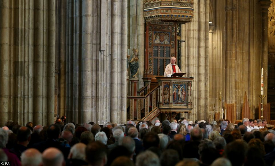 Archbishop of Canterbury and head of the Church of England Justin Welby delivers a sermon in Canterbury Cathedral, Kent, today