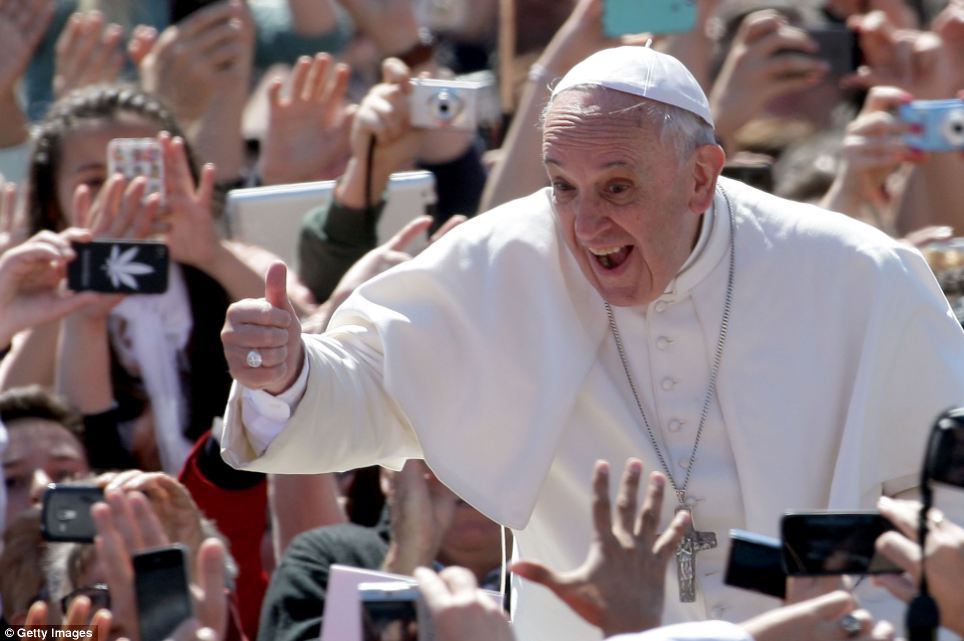 After delivering his traditional blessing Pope Francis moved out into the crowds, smiling and giving a jovial thumbs up to mark the most hopeful day in the Christian calendar when they believe Jesus rose from the dead