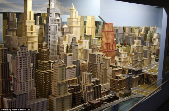 The sky's the limit: The model railway is made up city scenes as well as countryside landscapes designed by Mr Zaccagnino