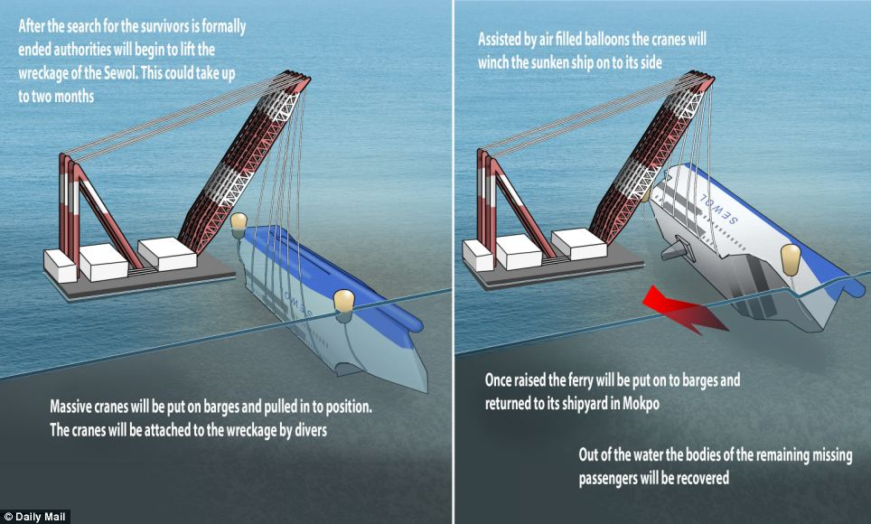 This graphic shows how the rescuers hope to salvage the sunken ferry