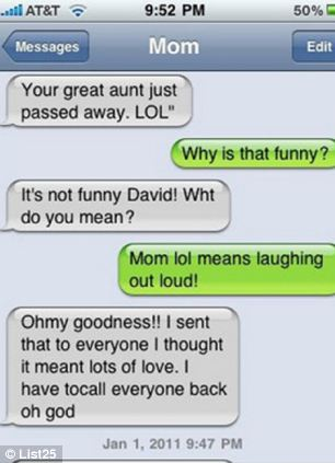 A mother informs her child by text that their 'great aunt just passed away LOL'