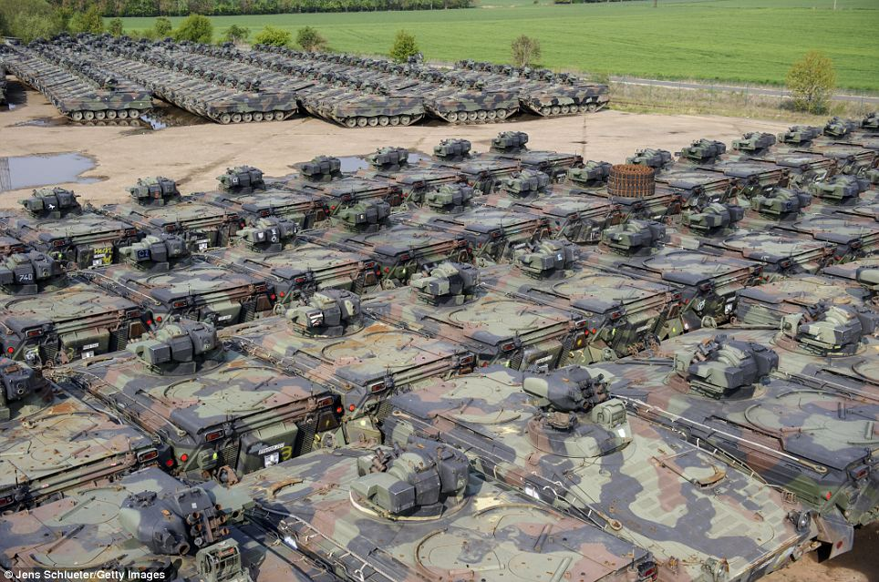 Marder light tanks that once belonged to the Bundeswehr are seen at the Battle Tank Dismantling GmbH Koch in Edeleben, Germany