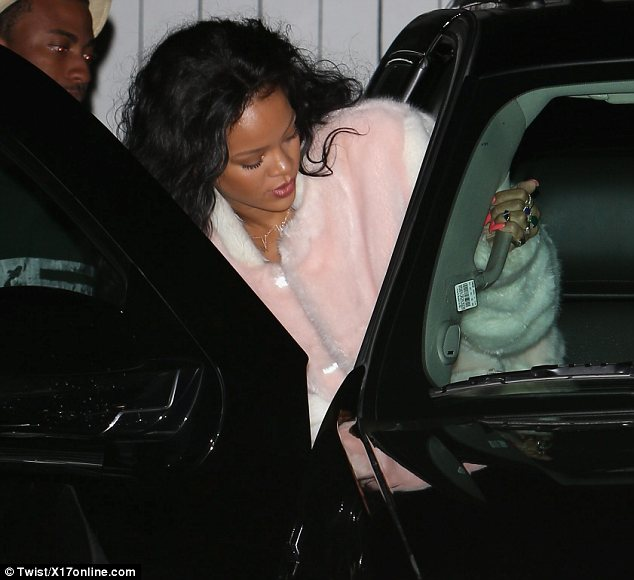 Treating herself: Rihanna left her favourite Italian restaurant Giorgio Baldi in Santa Monica on Thursday