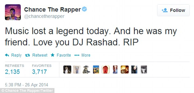 'Music lost a legend today': Chance The Rapper led the celebrities in hip-hop and house paying their respects to Rashad, who opened for his Social Experiment Tour