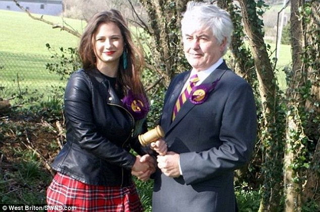 Controversy: Chairman of the UKIP Camborne, Redruth and Hayle branch Rosie Ward, 17, with her predecessor, Harry Blakeley
