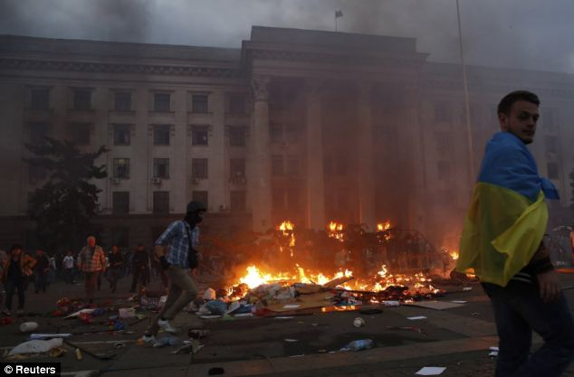 At least 38 people were killed in the blaze that destroyed the trade union building in Odessa