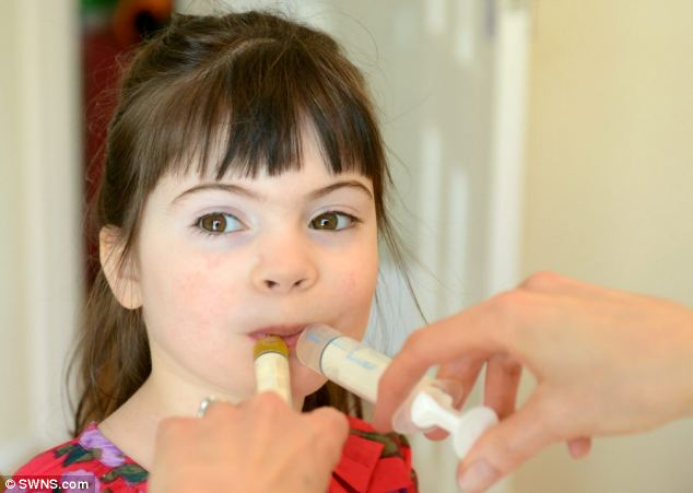 Neve's condition is controlled by a special diet which sees her having to be given syringes full of oil and water