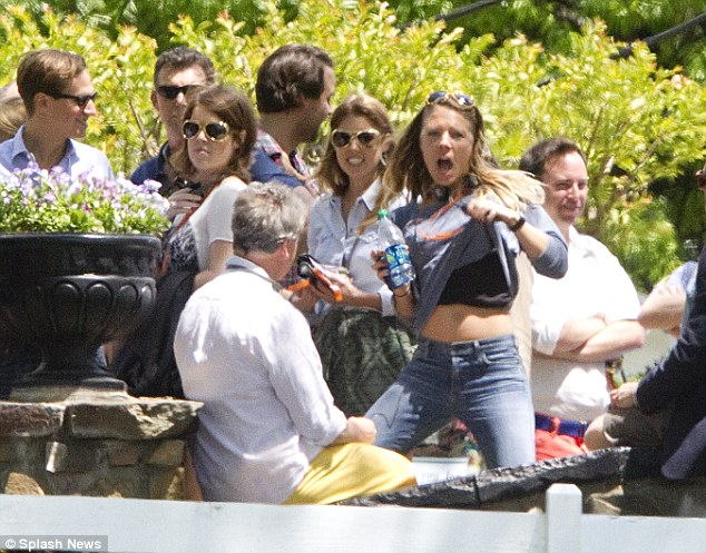 Princess Beatrice and Eugenie attend Graceland wearing Elvis sunglasses for Guy Pelly's wedding weekend along with one fun-loving friend who lifted her shirt for the cameras