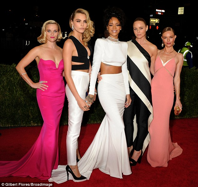 The A Team: Reese Witherspoon, Cara Delevingne, Rihanna, and Kate Bosworth pose with designer Stella McCartney