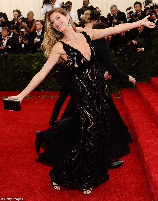 I'm here: Gisele's dazzled on the red carpet at the Met Gala in a Balenciaga dress