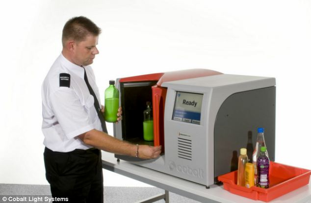 Robotic mixologist: New scanners (pictured) on trial at 65 airports can analyse the liquid contents of bottles without opening them using laser technology and could enable people to carry more liquids again - and get going on holiday more quickly