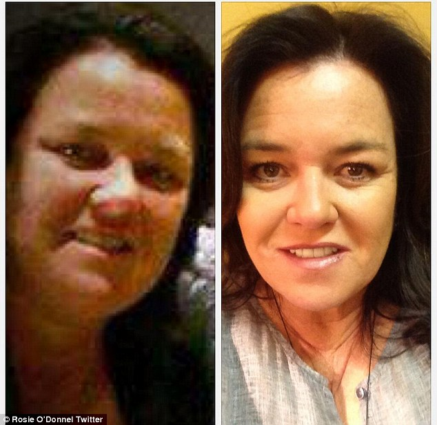Then and now: Rosie O'Donnell tweeted a snapshot of herself last month showing the difference in her 50lb weight loss