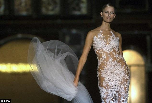 Karolina Kurkova models wedding gowns during Barcelona Bridal Week  Daily Mail Online