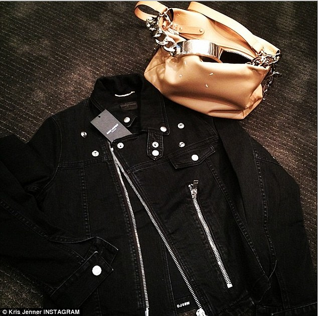 Feeling blessed: Kris Jenner received this gift from Kanye and Kim and wrote 'What girl wouldn't LOVE a little Saint Laurent and Maison Martin Margiela on Mothers Day?!'