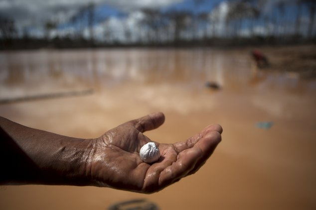 In this May 4, 2014 photo, a miner holds an amalgam of mercury and gold he mined after working a 28-hour shift at an illegal gold mining process, in La Pampa...
