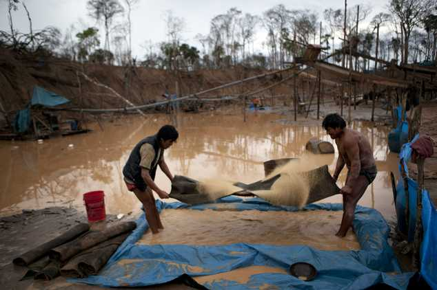In this May 5, 2014 photo, miners swish sands on special carpets, filtering for gold pieces that fall into the pool of water at their feet, in La Pampa in Pe...