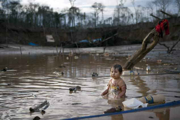 In this May 3, 2014 photo, Prisaida, 2, sits in the shallow waters of a polluted lagoon as her parents mine for gold nearby, in La Pampa in Peru's Madre de D...