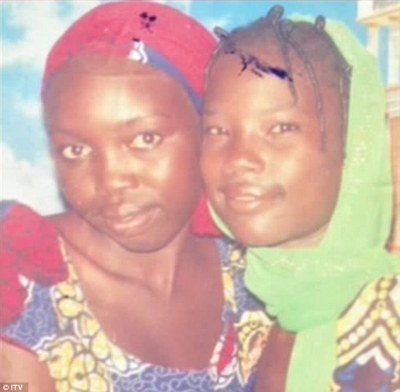 Missing: Mary, pictured left, with her best friend who was also kidnapped by the militant group last month