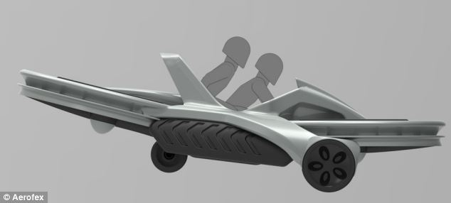 Will it take off? One company in California has created a bike that will let members of the public speed along at 45mph (72km/h) while hovering up to 10ft (3metres) above the ground using its hoverbike (illustrated)