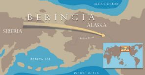 New genetic evidence supports the hypothesis that the first people in the Americas all came from northeast Asia by crossing a land bridge known as Beringia.  When sea levels rose after the last ice age the land bridge disappeared.