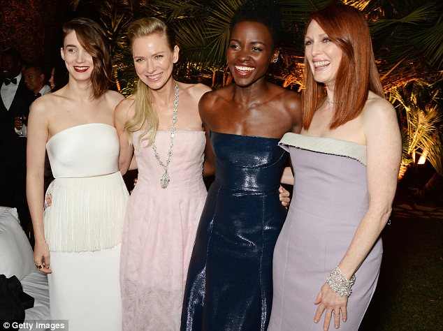 Similar styles: Rooney Mara, Naomi Watts, Lupita and Julianne Moore all chose strapless dresses at the bash