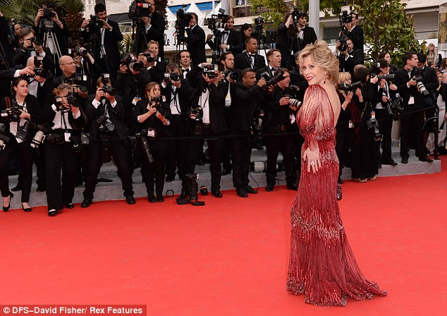 Rocking the red carpet: The 76-year-old screen siren is in the French Riviera in her capacity as a spokesmodel for French cosmetics company L'Oreal