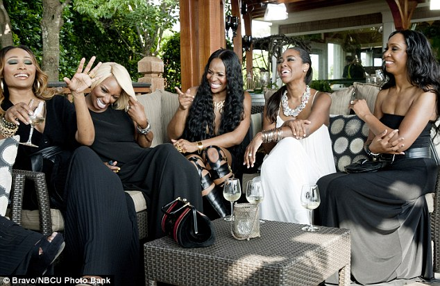 Car crash TV: The Real Housewives of Atlanta cast: From left: Cynthia Bailey, NeNe Leakes, Marlo Hampton, Kenya Moore and Malorie Bailey Massie