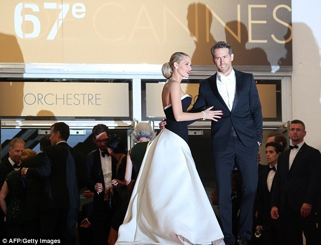 Long train: The actress' dress flowed across the red carpet