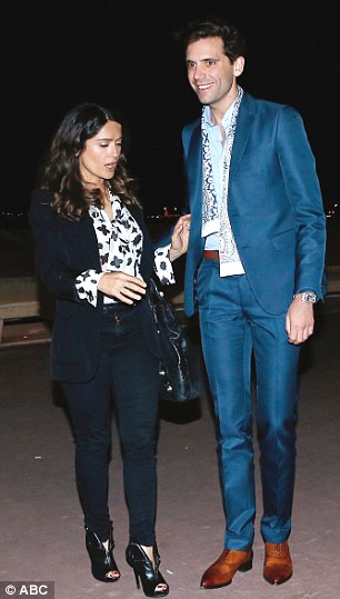 Famous friends: Hayek was also seen in deep conversation with singer Mika as they left the restaurant