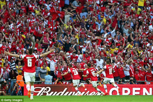Scenes! That end of Wembley descended into bedlam the moment Ramsey's strike hit the back of the net