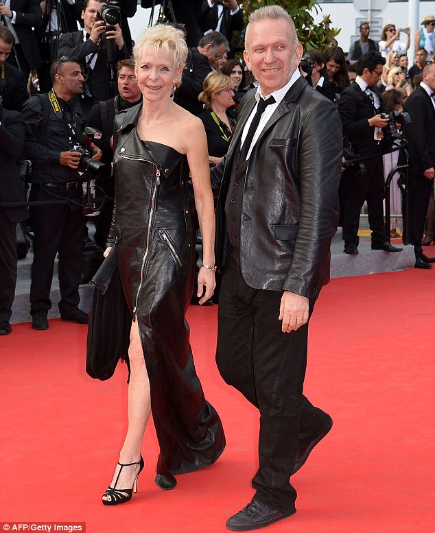 Calling designers: Jean-Paul Gaultier, right, came to support Siant Laurent, arriving with French-US director Tonie Marshall