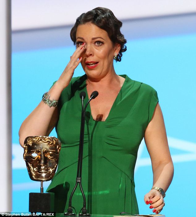 Weepy: Leading Actress Winner, Olivia Coleman, cries as she accepts her award