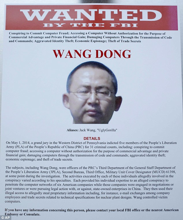 'UglyGorilla,' an alias of Chinese army official Wang Dong, allegedly controlled the computers of U.S. victims after a gang of cyber-hackers gained access by sending users fake 'spearphishing' emails that contained links to malware