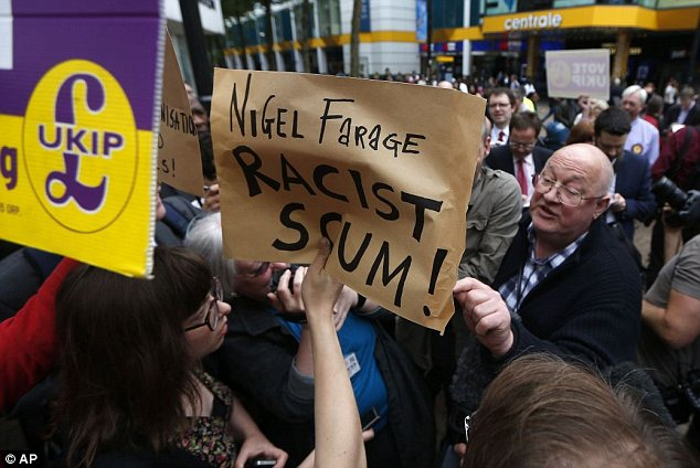 Instead the 'carnival' descended into a stand-off between protesters and Ukip members, with journalists looking on
