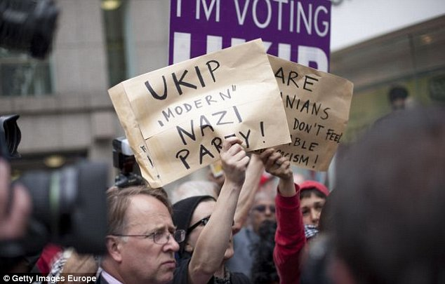 Organisers seemed unprepared for the number of protesters accusing Ukip of being Nazis