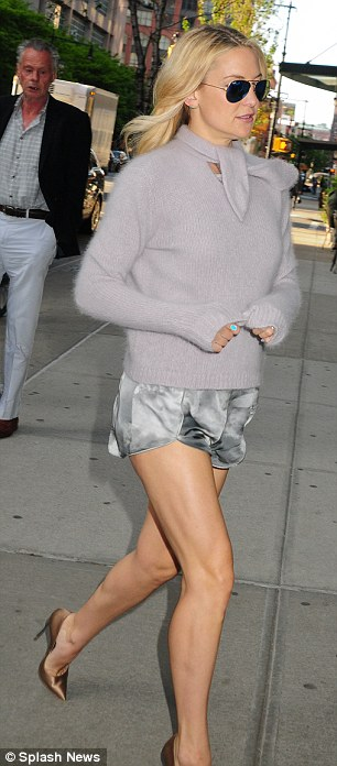 Showing off all her hard work: Kate Hudson wore two revealing outfits for her day out in New York on Monday