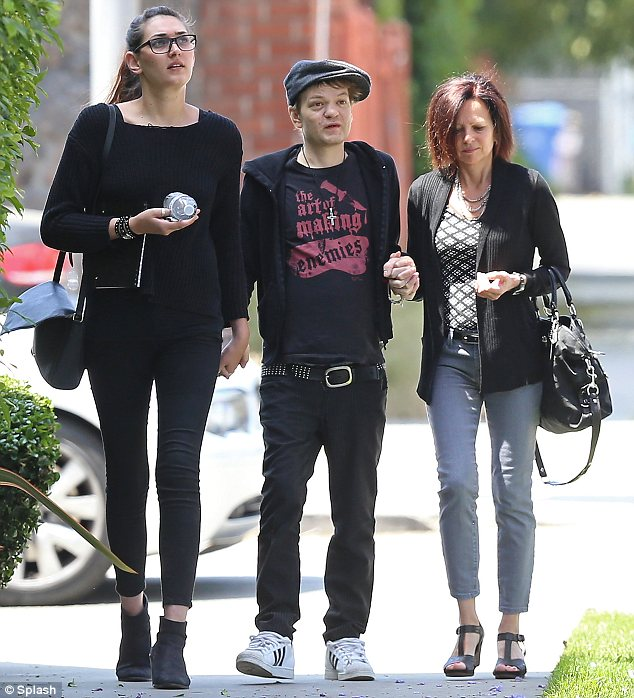 On the road to recovery: Deryck Whibley was seen on Monday, for the first time since revealing alcoholism nearly killed him