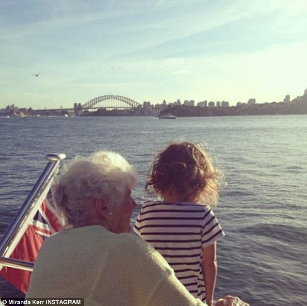 Water baby: The former Victoria's Secret model enjoyed a boat trip round Sydney Harbour on Saturday, her three-year-old son Flynn has been getting to know his great grandmother (pictured) Ann