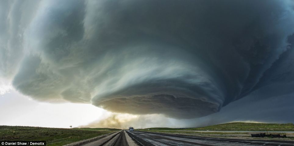 Show of strength: Nature's full display of might was on show as stormchasers managed to capture these incredible images