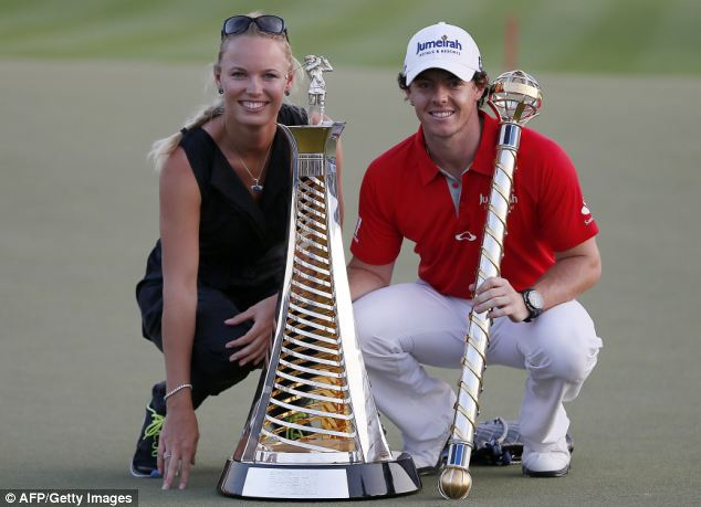 Wozniacki celebrated with the golfer when he won the DP World Tour golf Championship in Dubai on November 25, 2012