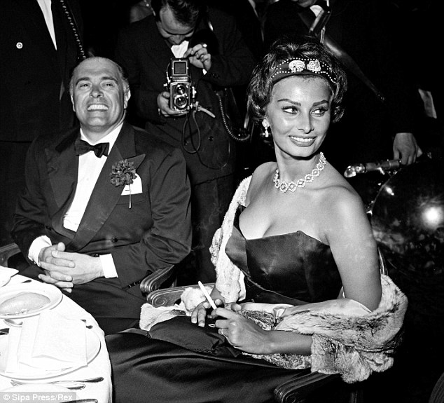 Back in the day: The Hollywood legend attended the Cannes Film Festival with her then-husband Carlo Ponti, who passed away in January 2007, in 1958