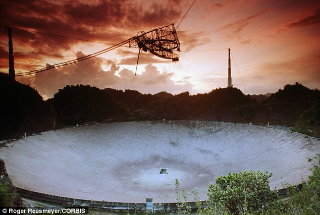 The authors also detail way we could send messages of our own through methods such as Active Seti, using giant radio dishes like the Arecibo Observatory in Puerto Rico (pictured). They say their are immense challenges in making first contact, but we can learn lessons from the history of civilisations on Earth