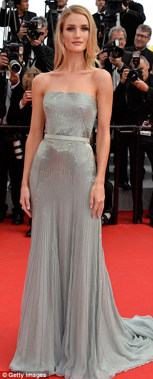 A shinning example: Rosie looked stunning in a strapless grey dress embroidered with sequins